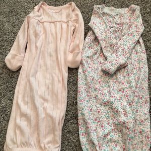 Baby pink and pink floral sleep gowns